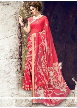 Majesty Print Work Red Georgette Printed Saree