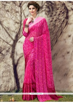Lively Georgette Hot Pink Printed Saree