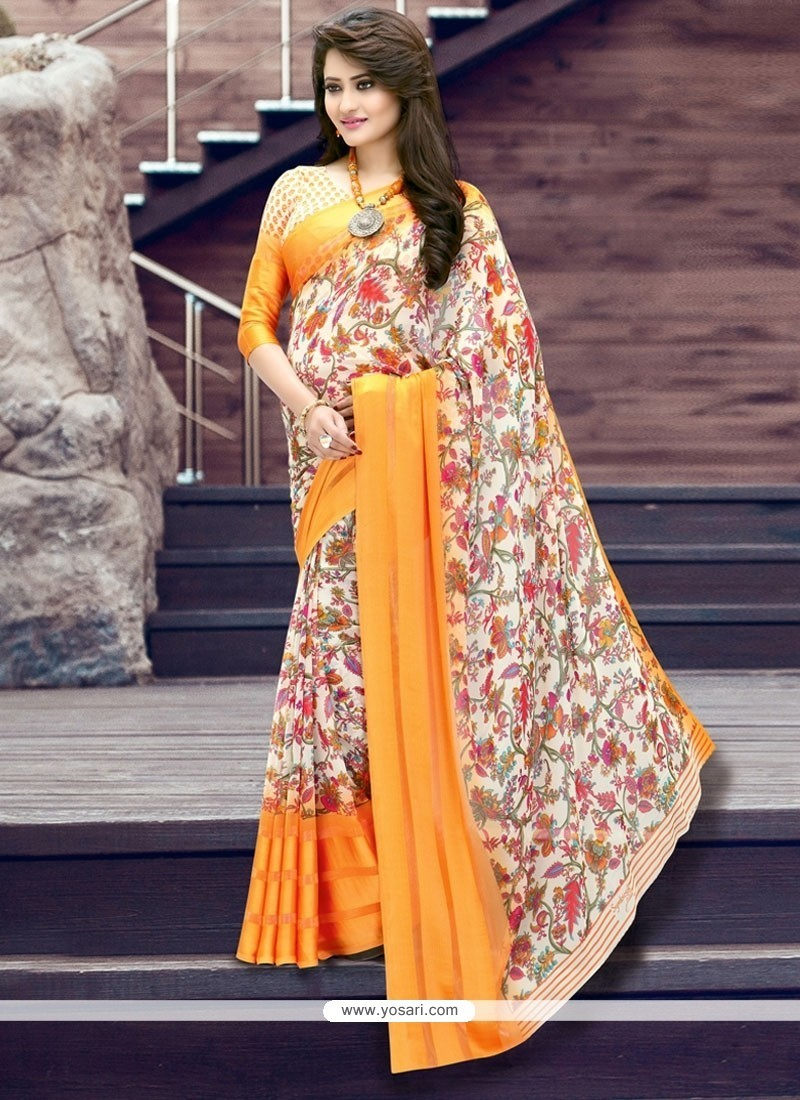 Unique Georgette Multi Colour Printed Saree