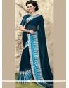 Prepossessing Blue Printed Saree
