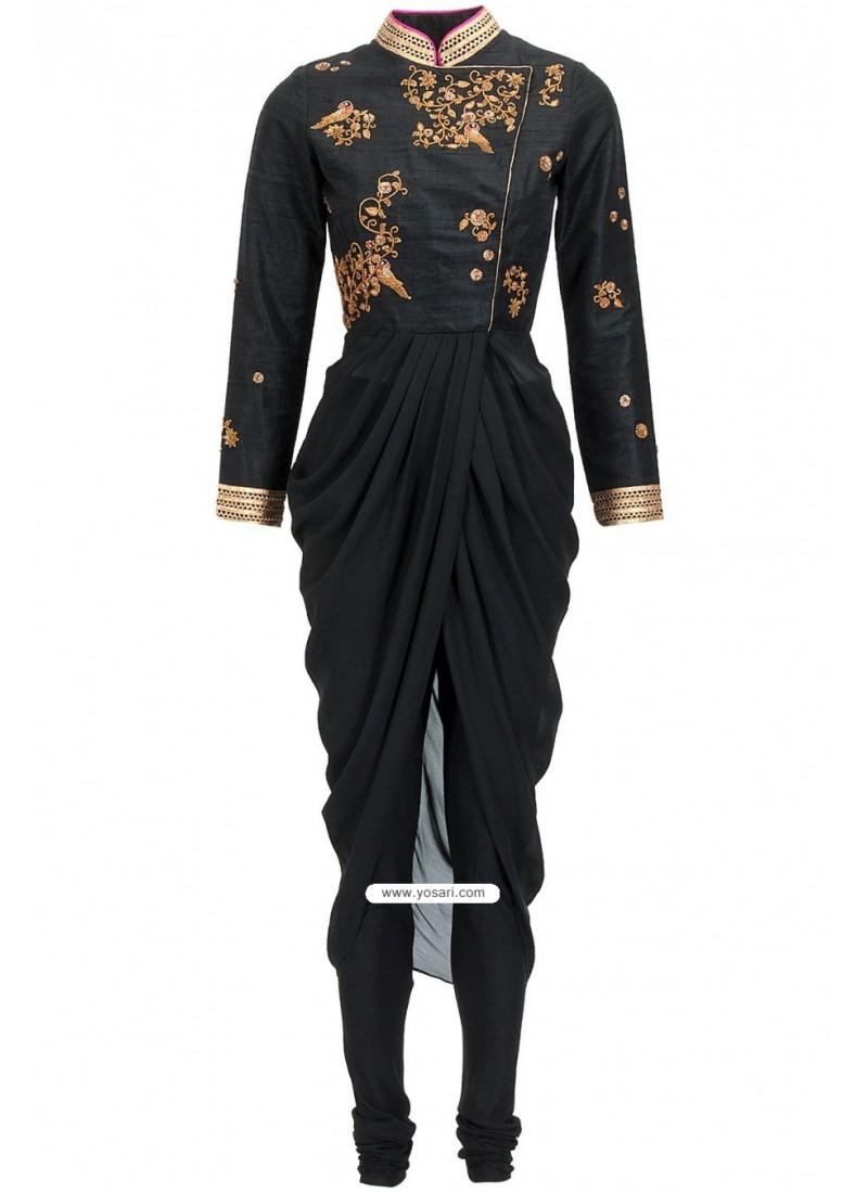 Ivory Georgette Drape Kurta Heavy Zari Embroidered