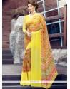 Enticing Georgette Yellow Print Work Printed Saree