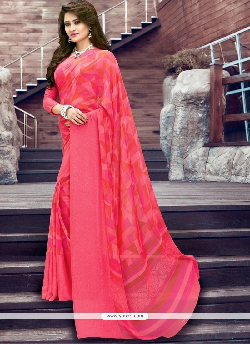 Print Georgette Printed Saree In Pink