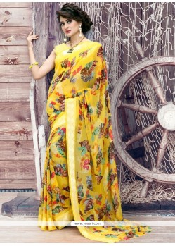 Groovy Yellow Print Work Printed Saree