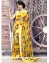 Groovy Yellow Print Work Printed Saree