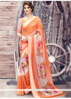 Transcendent Print Work Orange Printed Saree
