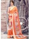 Transcendent Print Work Orange Printed Saree