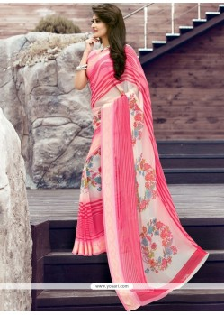Fabulous Print Work Pink Georgette Printed Saree