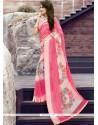 Fabulous Print Work Pink Georgette Printed Saree