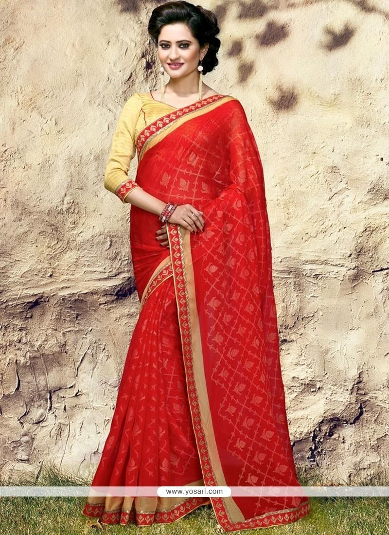 Glowing Print Work Red Printed Saree