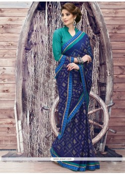 Praiseworthy Blue Print Work Georgette Printed Saree