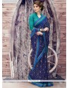 Praiseworthy Blue Print Work Georgette Printed Saree