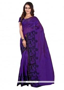 Extraordinary Print Work Purple Casual Saree