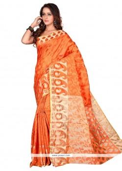 Amazing Orange Print Work Banarasi Silk Casual Saree