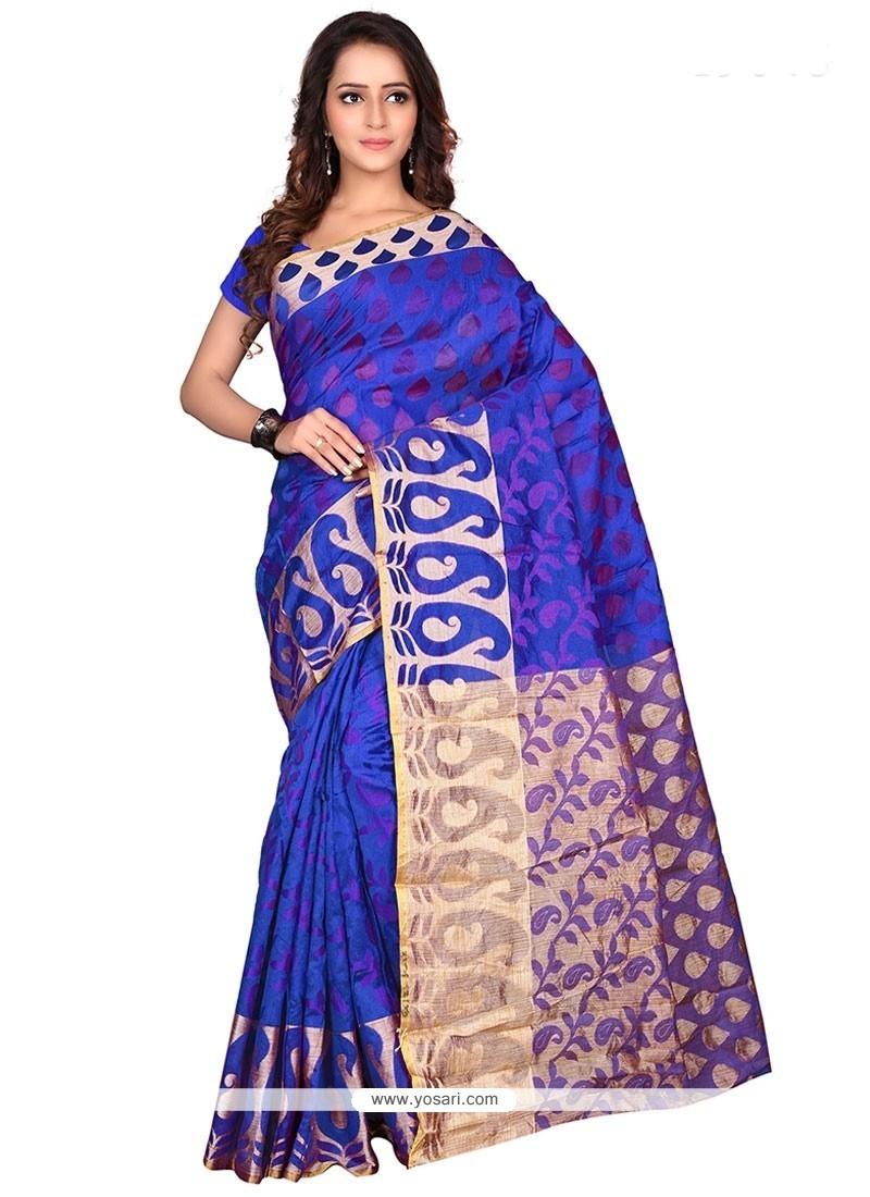 Stylish Banarasi Silk Blue Print Work Casual Saree