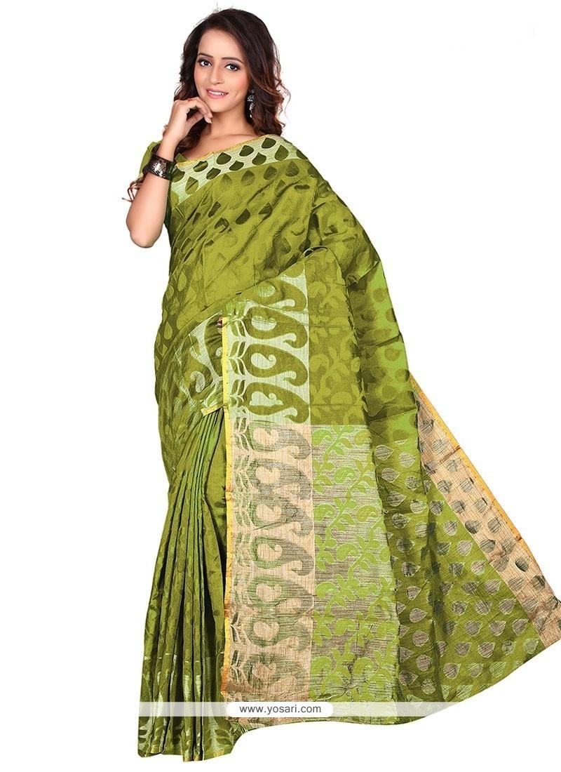 Latest Banarasi Silk Green Casual Saree