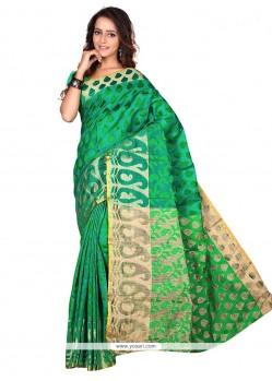 Vibrant Sea Green Print Work Banarasi Silk Casual Saree