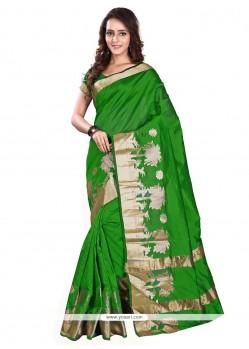 Stylish Green Print Work Banarasi Silk Casual Saree