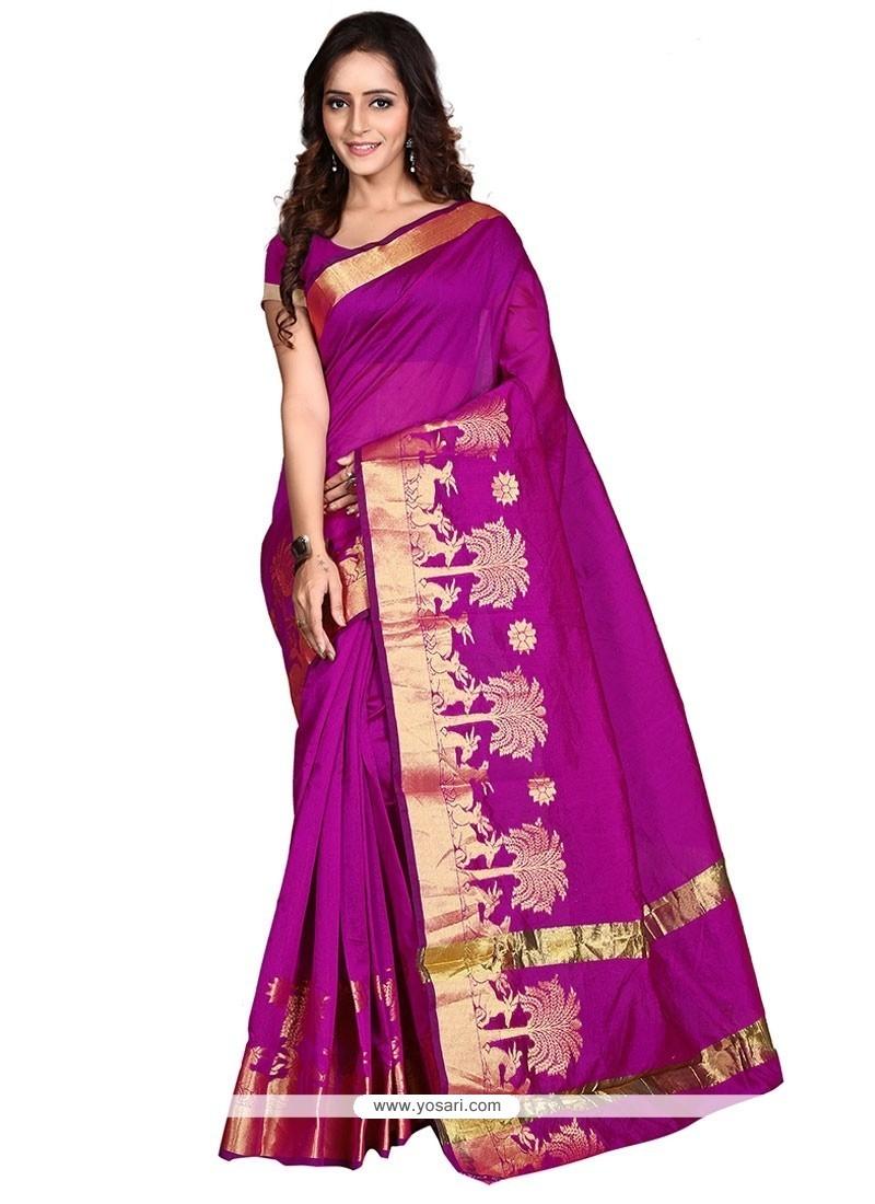 Print Banarasi Silk Casual Saree In Magenta