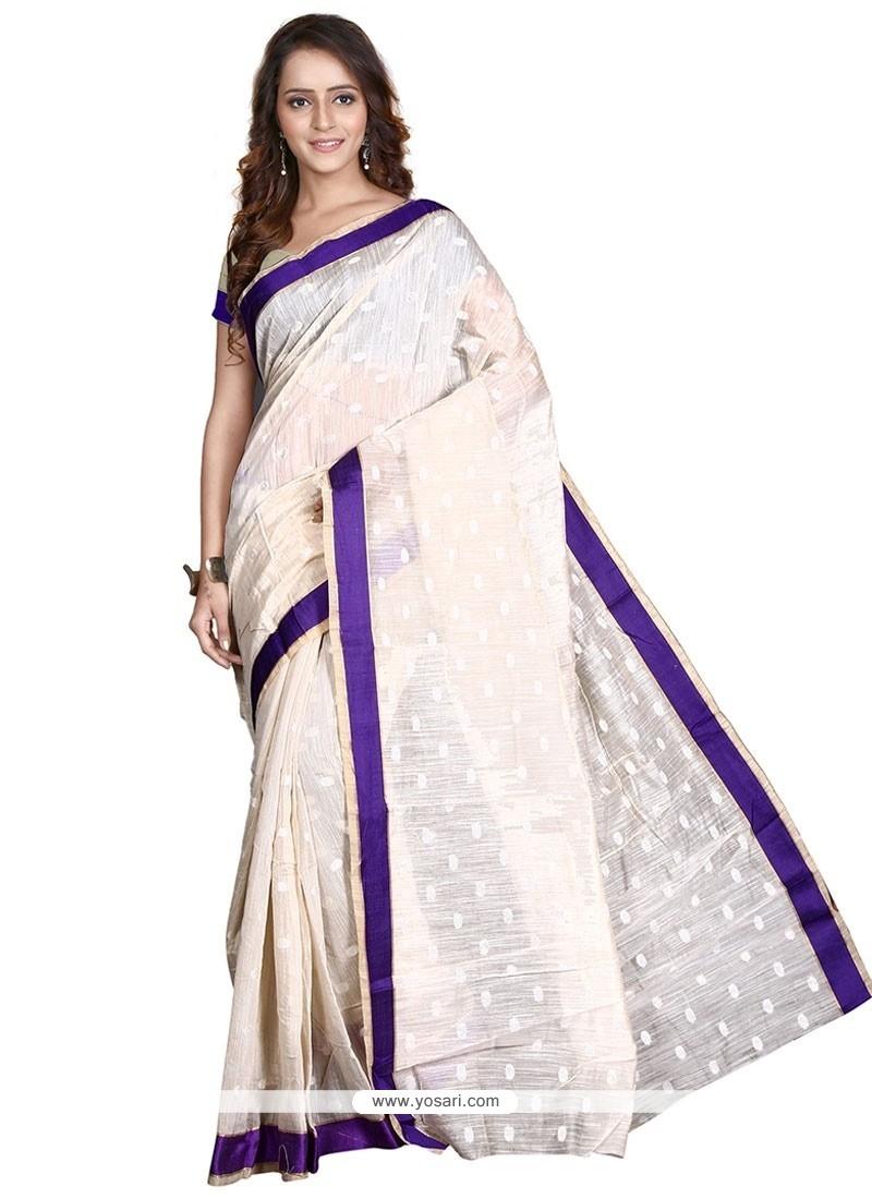 Demure Beige Banarasi Silk Casual Saree