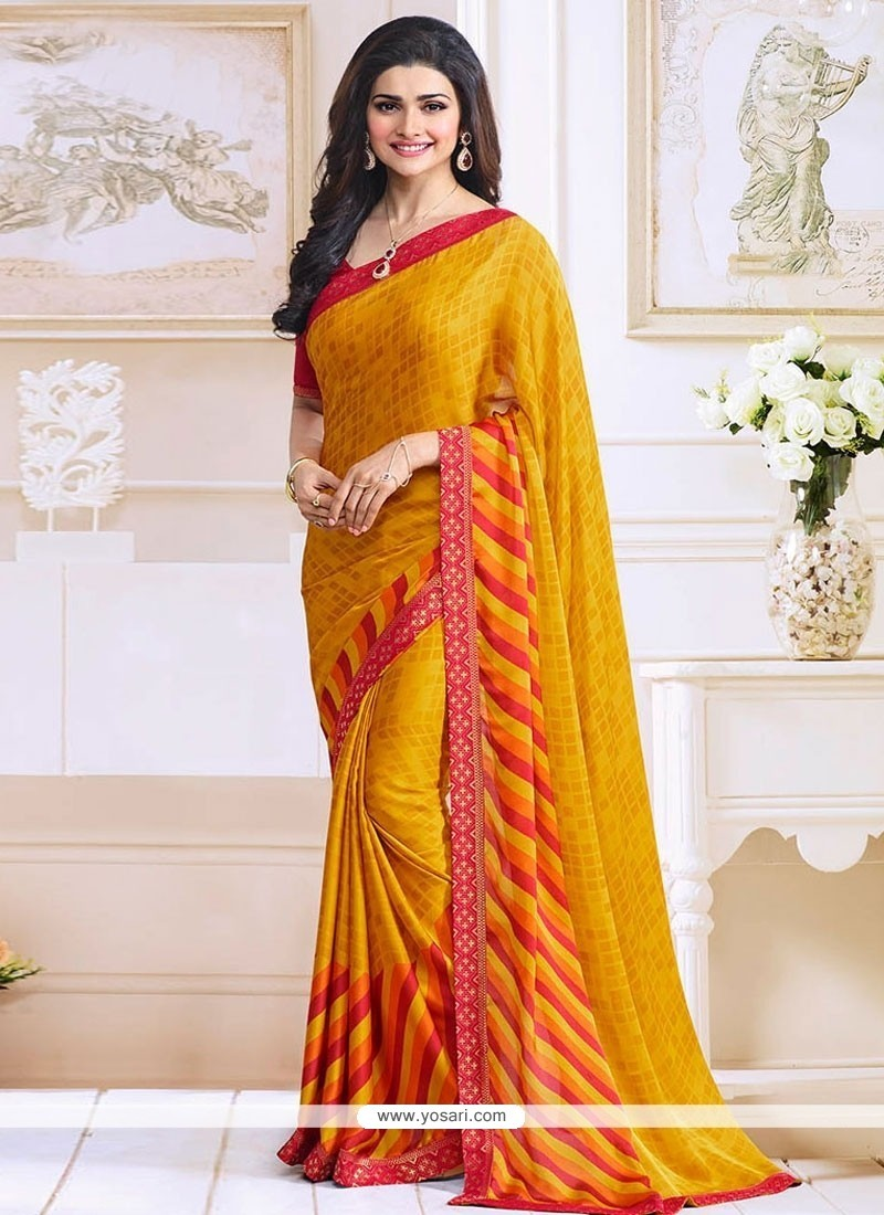 Bollywood Sarees Navels: Buy Prachi Desai Yellow Bollywood Saree