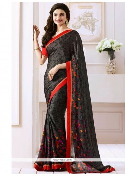 Prachi Desai Black Satin Bollywood Saree