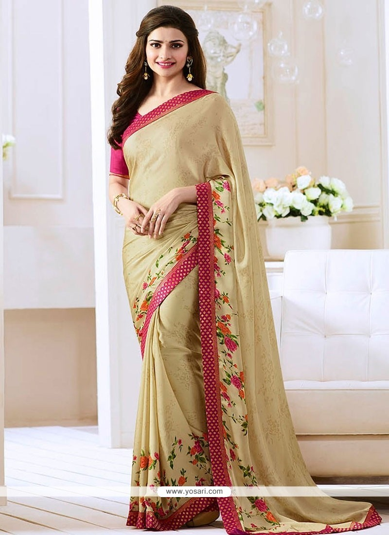 Prachi Desai Beige Bollywood Saree