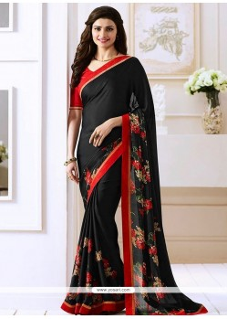 Prachi Desai Print Work Black Bollywood Saree