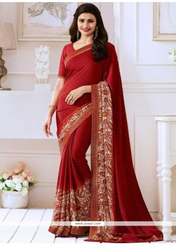 Prachi Desai Print Work Maroon Satin Bollywood Saree