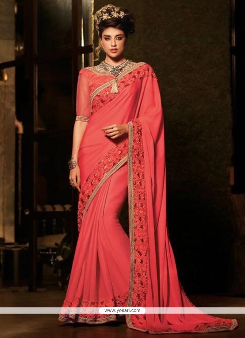 Eye-catchy Silk Patch Border Work Classic Designer Saree