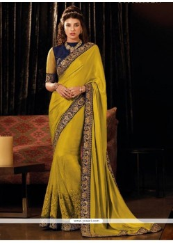 Embroidered Silk Traditional Designer Sarees In Yellow