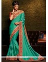 Sophisticated Patch Border Work Sea Green Classic Saree