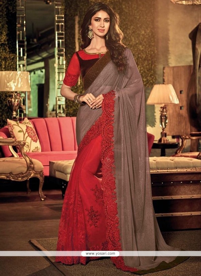 Remarkable Silk Red Embroidered Work Classic Designer Saree