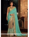 Modern Turquoise Embroidered Work Designer Traditional Sarees