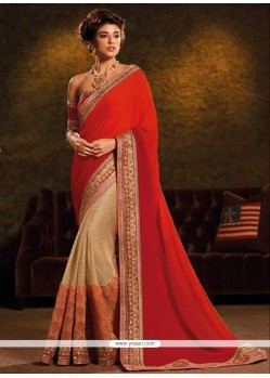Glitzy Patch Border Work Beige And Red Classic Designer Saree
