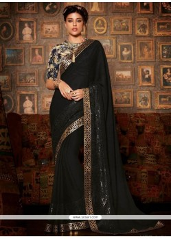 Sorcerous Georgette Black Patch Border Work Classic Saree