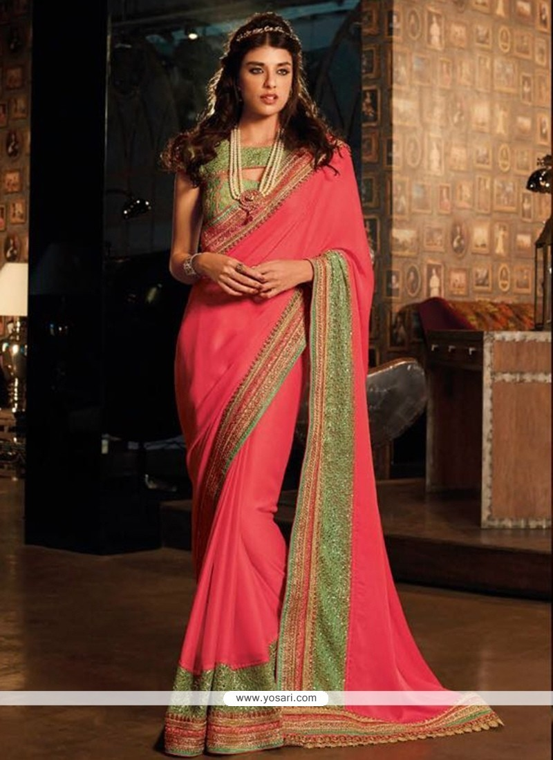 Prepossessing Silk Embroidered Work Traditional Saree