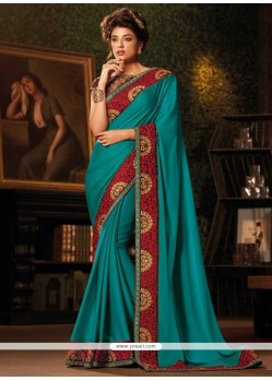 Intriguing Teal Patch Border Work Designer Traditional Sarees