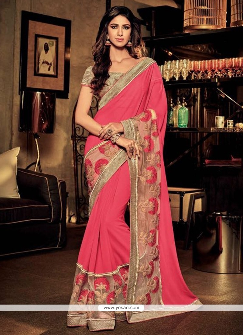 Distinctive Embroidered Work Classic Designer Saree