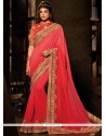Exciting Embroidered Work Red Traditional Designer Sarees