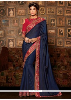 Amazing Navy Blue Designer Traditional Sarees