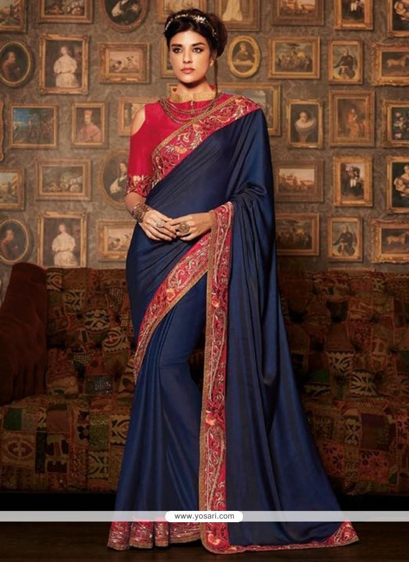 Amazing Navy Blue Designer Traditional Sarees
