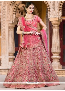 Tantalizing Pink Embroidered Work A Line Lehenga Choli