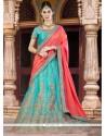 Conspicuous Silk Turquoise A Line Lehenga Choli