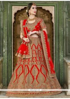 Paramount Silk Red A Line Lehenga Choli