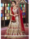 Patch Border Silk A Line Lehenga Choli In Off White And Red