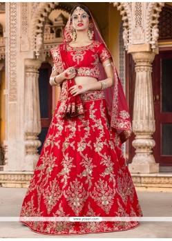 Patch Border Silk A Line Lehenga Choli In Red