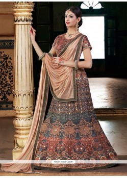 Ethnic Patch Border Work Beige Bhagalpuri Silk A Line Lehenga Choli