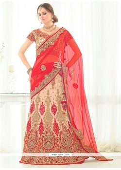 Floral Net Beige Patch Border Work A Line Lehenga Choli