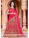 Lovely Embroidered Work Hot Pink A Line Lehenga Choli